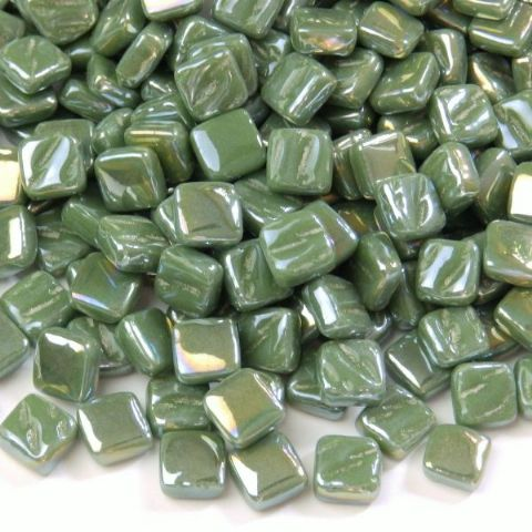 8mm Square Tiles - Dark Green Pearlised - 50g